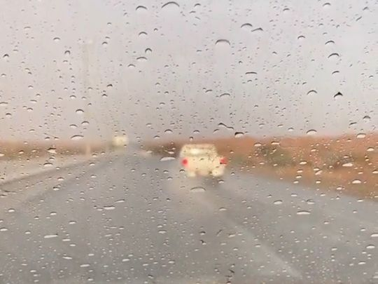 uae-weather:-it's-raining-in-sharjah,-umm-al-quwain,-showers-expected-throughout-the-weekend,-hazy-and-partly-cloudy-in-abu-dhabi,-dubai